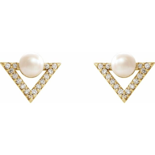 14K Yellow Freshwater Cultured Pearl & 1/5 CTW Diamond Earrings