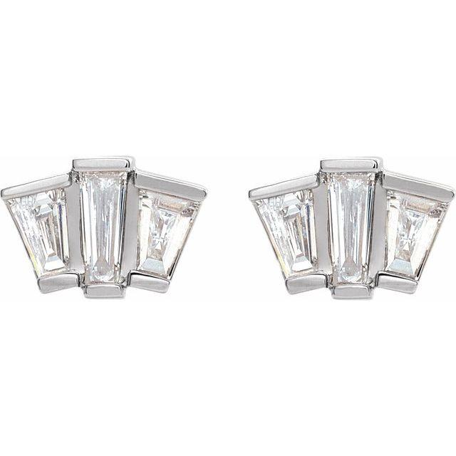 14K White 1/3 CTW Diamond Geometric Cluster Earrings