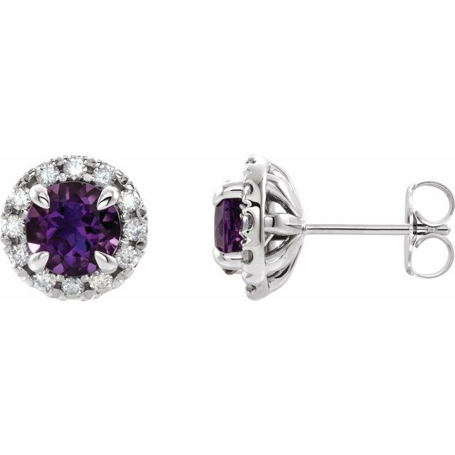 14K Rose Blue Sapphire & 1/5 CTW Diamond Earrings