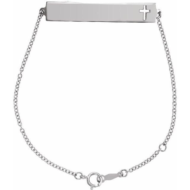 Sterling Silver Pierced Cross Bar 6 1/2-7 1/2