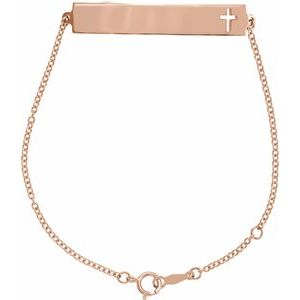 "14K Rose Pierced Cross Bar 6 1/2-7 1/2"" Bracelet"