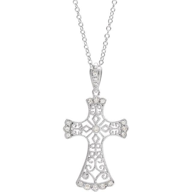 14K White 1/10 CTW Diamond Vintage-Inspired Cross Necklace