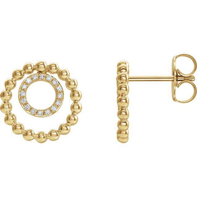 14K Yellow  1/10 CTW Diamond Beaded Circle Earrings