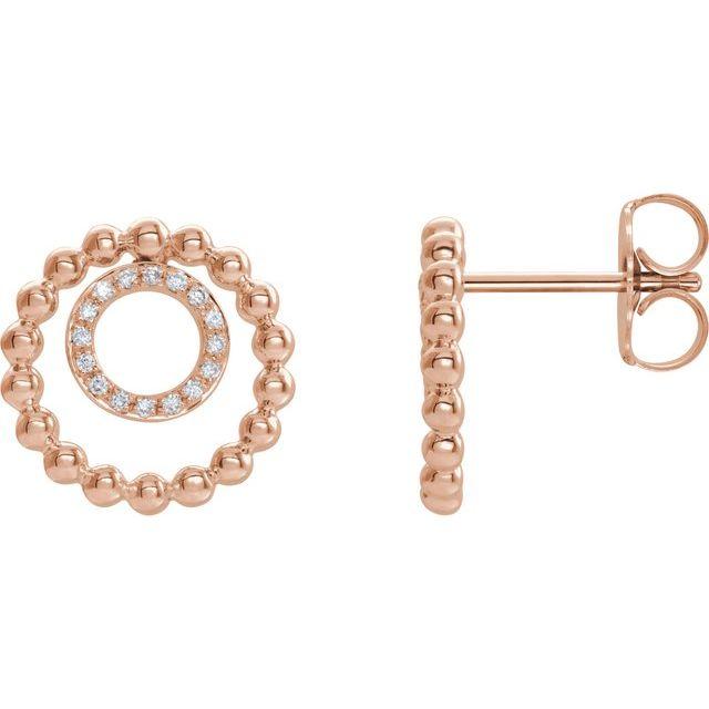 14K Rose  1/10 CTW Diamond Beaded Circle Earrings
