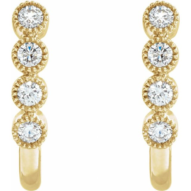 14K Yellow 1/4 CTW Diamond J-Hoop Earrings
