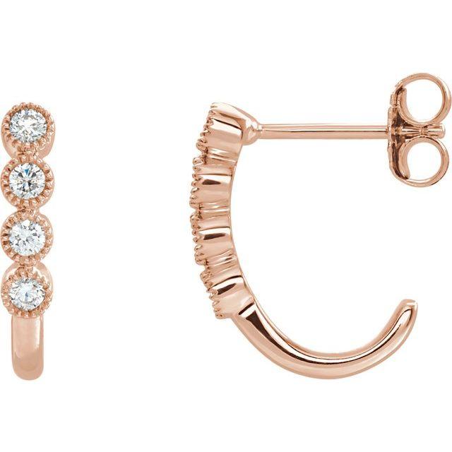 14K Rose 1/4 CTW Diamond J-Hoop Earrings