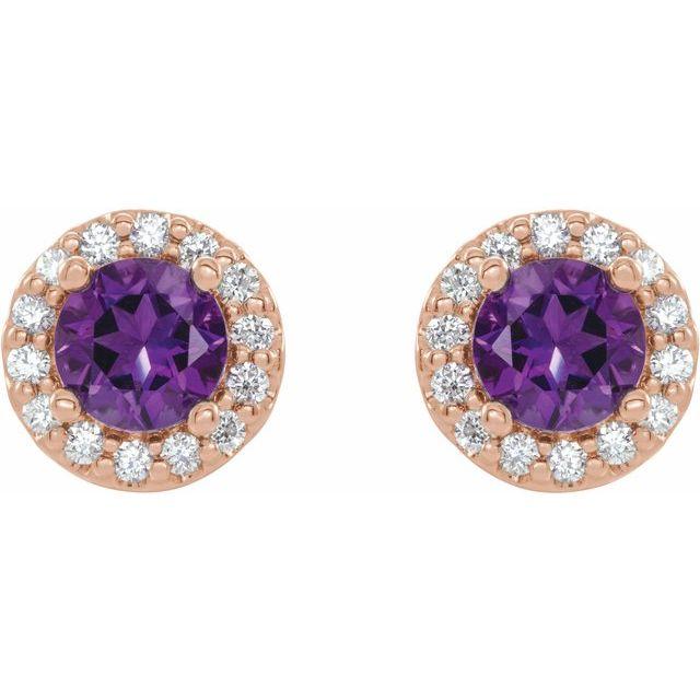 14K Rose 4 mm Natural Amethyst & 1/8 CTW Natural Diamond Earrings