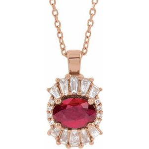 "14K Rose Ruby & 1/3 CTW Diamond 16-18"" Necklace"