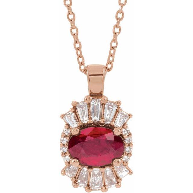 14K Rose Ruby & 1/3 CTW Diamond 16-18
