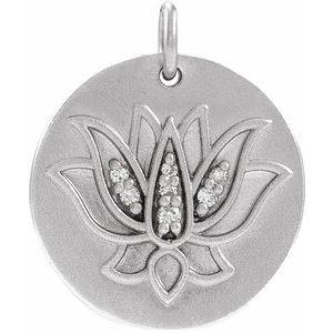 14K White .025 CTW Diamond Lotus Pendant