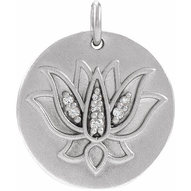Sterling Silver .025 CTW Diamond Lotus Pendant
