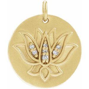 14K Yellow .025 CTW Diamond Lotus Pendant