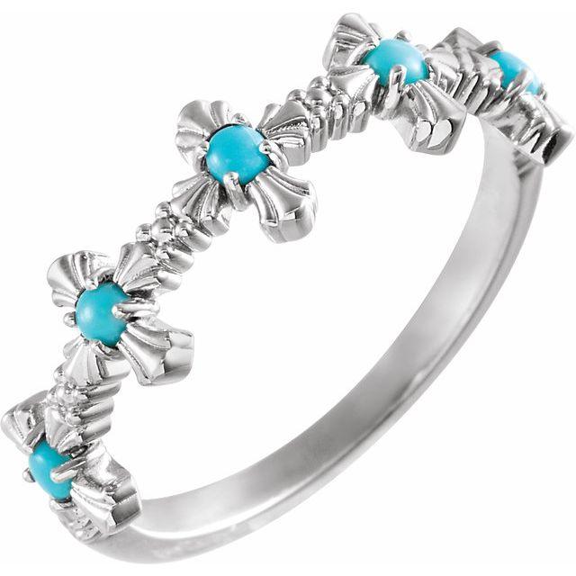 14K White Turquoise Cross Ring