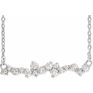 "14K White 1/3 CTW Diamond Scattered Bar 18"" Necklace"