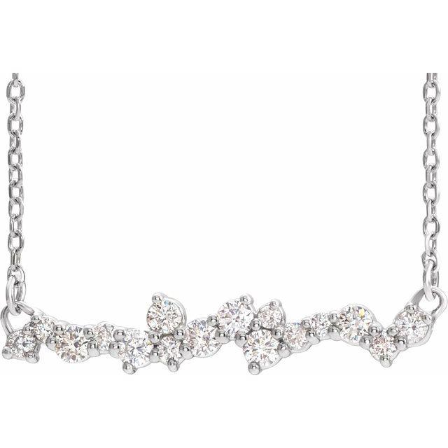 14K White 1/3 CTW Diamond Scattered Bar 18