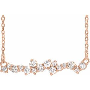 "14K Rose 1/3 CTW Diamond Scattered Bar 16"" Necklace"