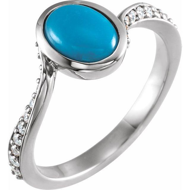 14K White Turquoise & 1/5 CTW Diamond Ring