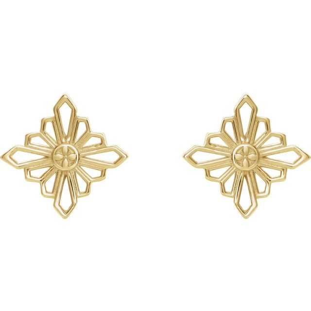 14K Yellow Geometric Earrings with Backs