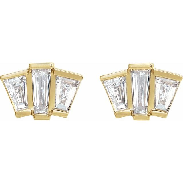 14K Yellow 1/3 CTW Diamond Geometric Cluster Earrings