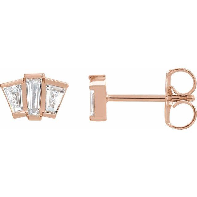 14K Rose 1/3 CTW Diamond Geometric Cluster Earrings