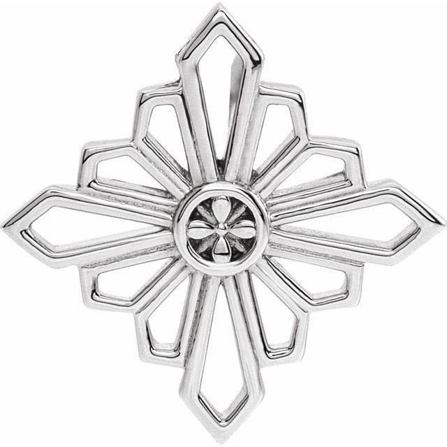 14K White 19.36x19.36 mm Vintage-Inspired Geometric Pendant