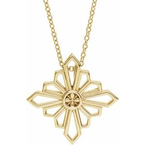 """14K Yellow Vintage-Inspired Geometric 16-18"""" Necklace"""