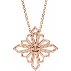 "14K Rose Vintage-Inspired Geometric 16-18"" Necklace"
