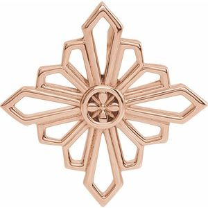 14K Rose 19.36x19.36 mm Vintage-Inspired Geometric Pendant