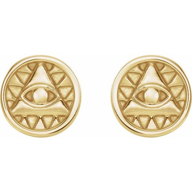 14K Yellow Eye of Providence Earrings