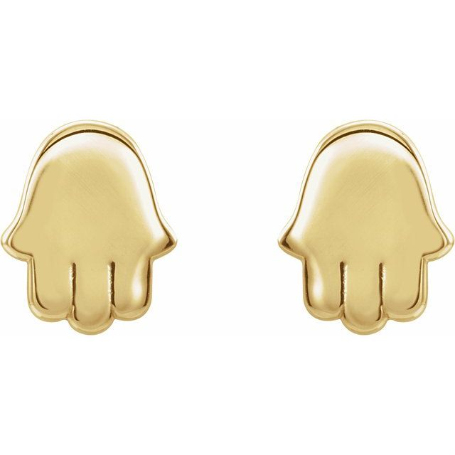 14K Yellow Hamsa Earrings