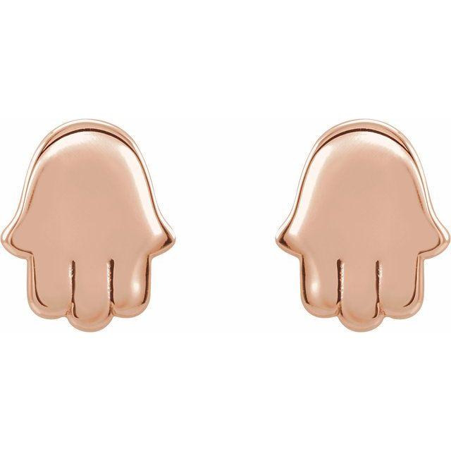 14K Rose Hamsa Earrings