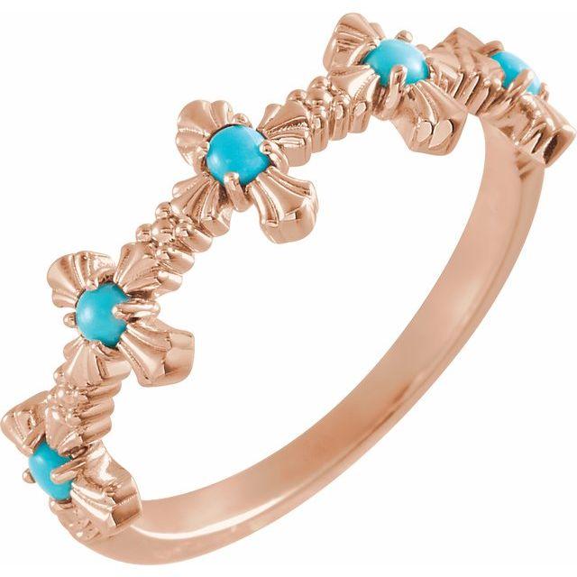 14K Rose Turquoise Cross Ring