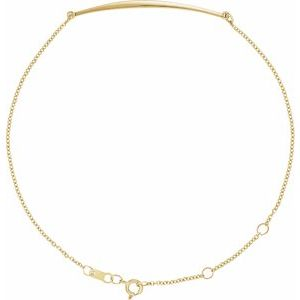 "14K Yellow Curved Bar 6 1/2-7 1/2"" Bracelet"