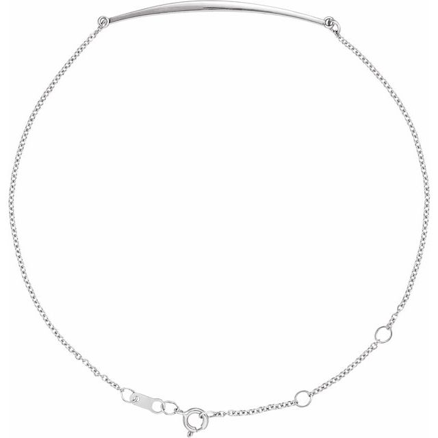 Sterling Silver Curved Bar 6 1/2-7 1/2