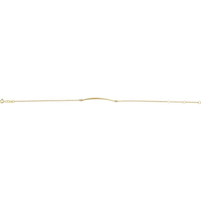 14K Yellow Curved Bar 6 1/2-7 1/2