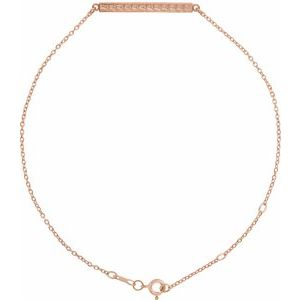 14K Rose Patterned Bar Bracelet
