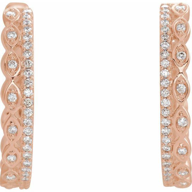14K Rose 1/4 CTW Diamond Geometric Hoop Earrings