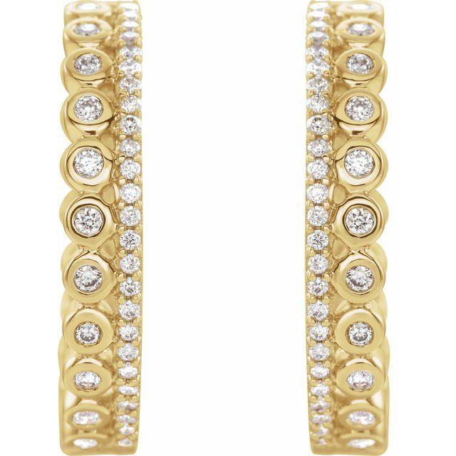 14K Yellow 1/3 CTW Diamond Geometric Hoop Earrings