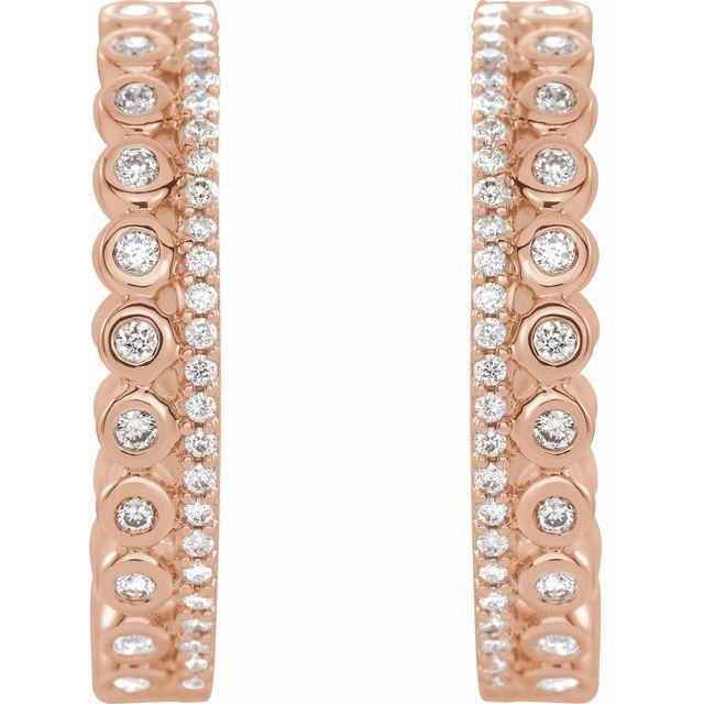 14K Rose 1/3 CTW Diamond Geometric Hoop Earrings