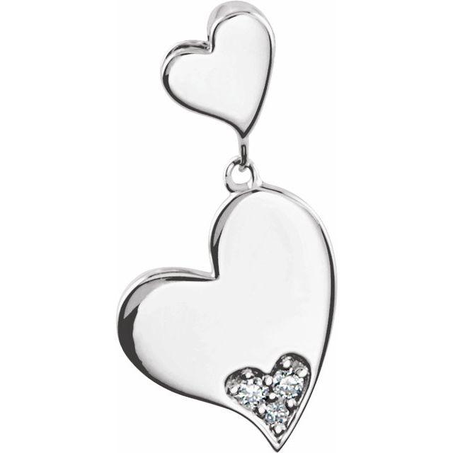 Sterling Silver .02 CTW Diamond Heart Pendant