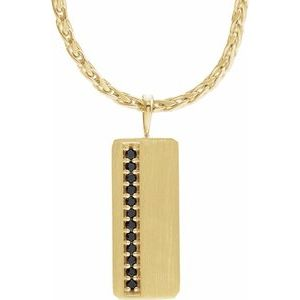 "14K Yellow 1/5 CTW Black Diamond Geometric 24"" Necklace"