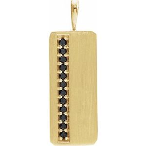 14K Yellow 1/5 CTW Black Diamond Pendant