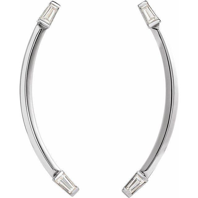 14K White 1/4 CTW Diamond Curved Bar Earrings