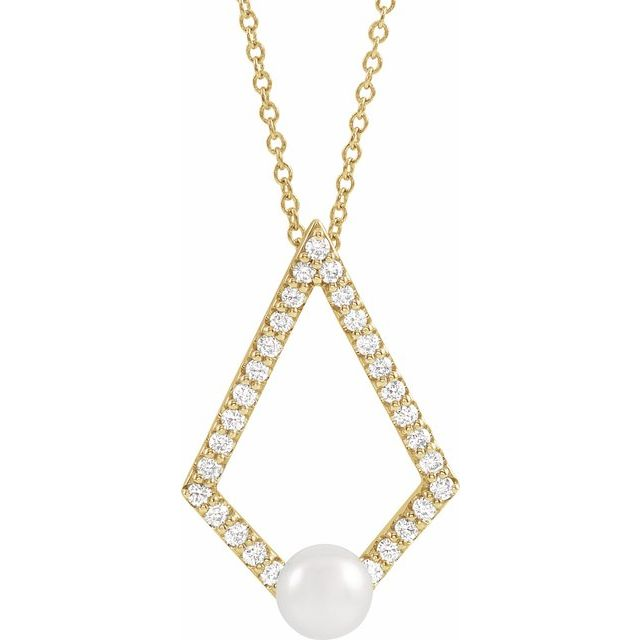 """14K Yellow Freshwater Cultured Pearl & 1/4 CTW Diamond Geometric 16-18"""" Necklace"""