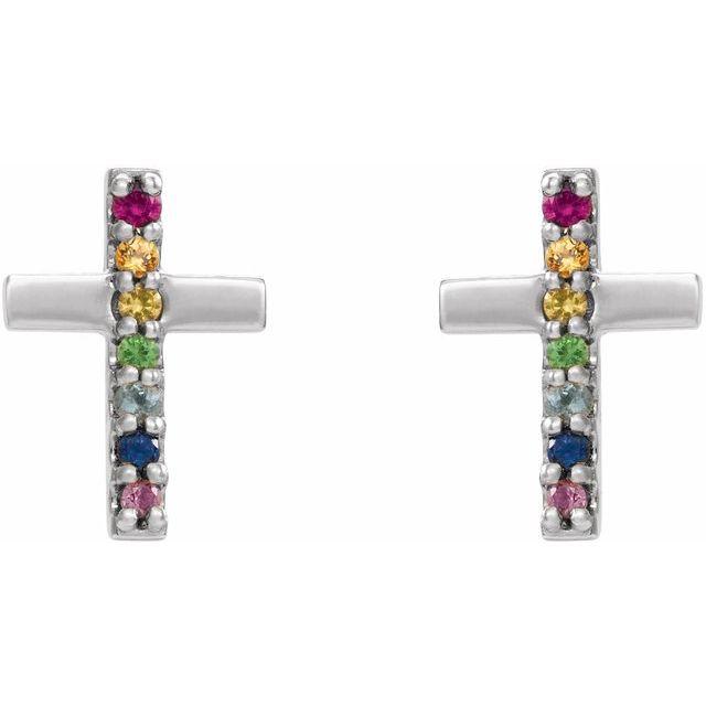 14K White Multi-Gemstone Cross Earrings