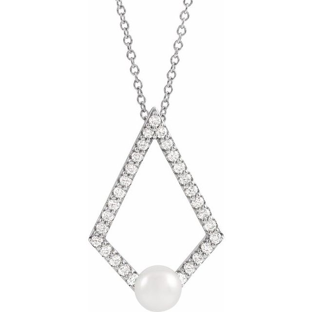 14K White Freshwater Cultured Pearl & 1/4 CTW Diamond Geometric 16-18