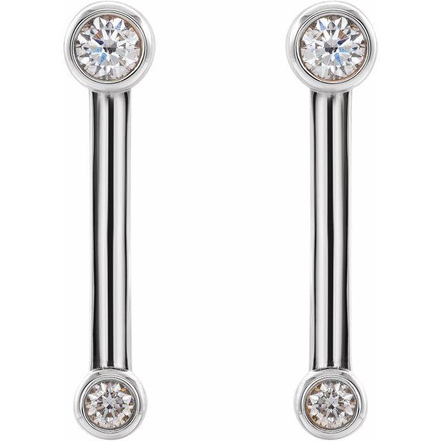 14K White 1/5 CTW Diamond Bezel-Set Bar Earrings
