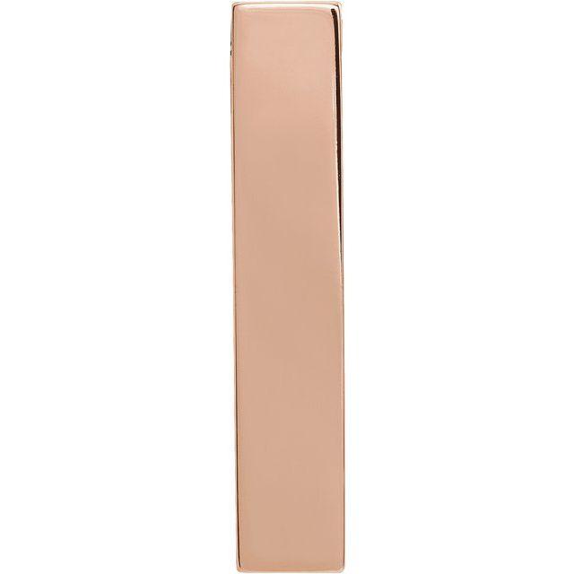 14K Rose 24.63x4.97 mm Engravable Sculptural Bar Slide Pendant