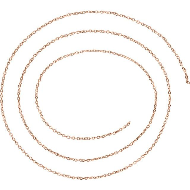 18K Rose 1 mm Diamond-Cut Cable Chain by the Inch