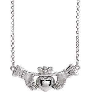 "14K White Claddagh 18"" Necklace"